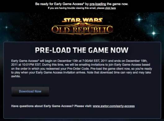 SWTOR Early Access email